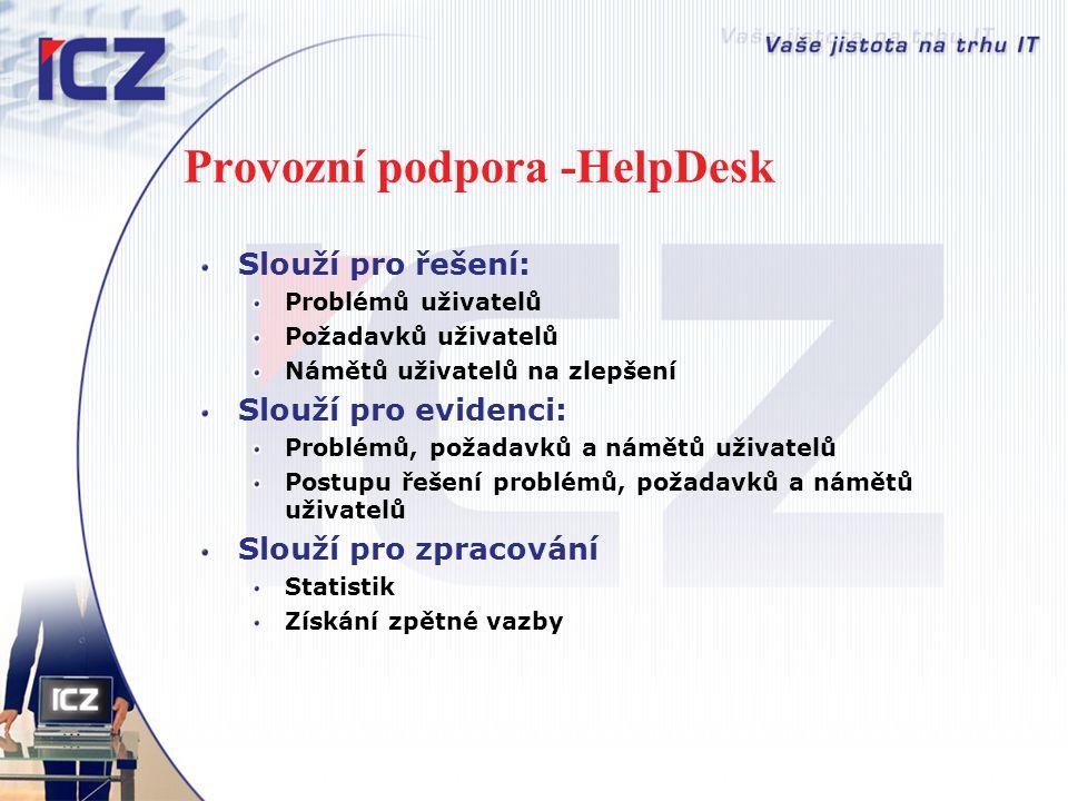 Provozní podpora -HelpDesk Slouží pro řešení: Problémů uživatelů Požadavků uživatelů Námětů uživatelů na zlepšení Slouží pro evidenci: Problémů, požad