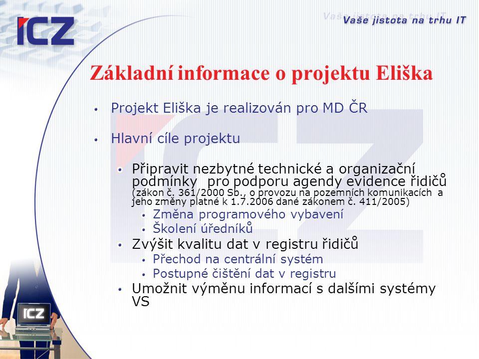 Základní informace o projektu Eliška Projekt Eliška je realizován pro MD ČR Hlavní cíle projektu Připravit nezbytné technické a organizační podmínky p