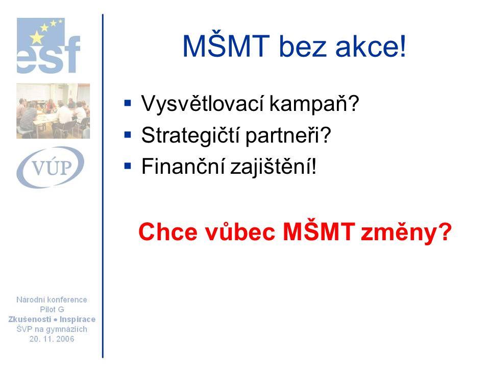 MŠMT bez akce!  Vysvětlovací kampaň?  Strategičtí partneři?  Finanční zajištění! Chce vůbec MŠMT změny?