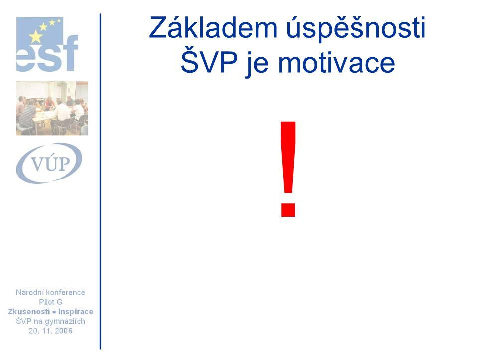 Základem úspěšnosti ŠVP je motivace !