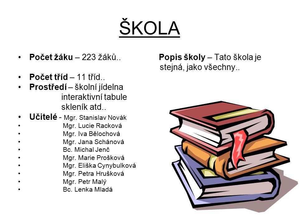ŠKOLA Počet žáku – 223 žáků.. Popis školy – Tato škola je stejná, jako všechny.. Počet tříd – 11 tříd.. Prostředí – školní jídelna interaktivní tabule