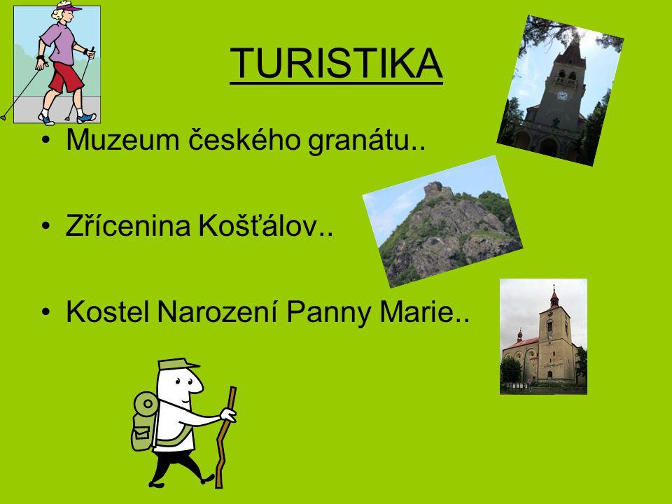 TURISTIKA Muzeum českého granátu.. Zřícenina Košťálov.. Kostel Narození Panny Marie..