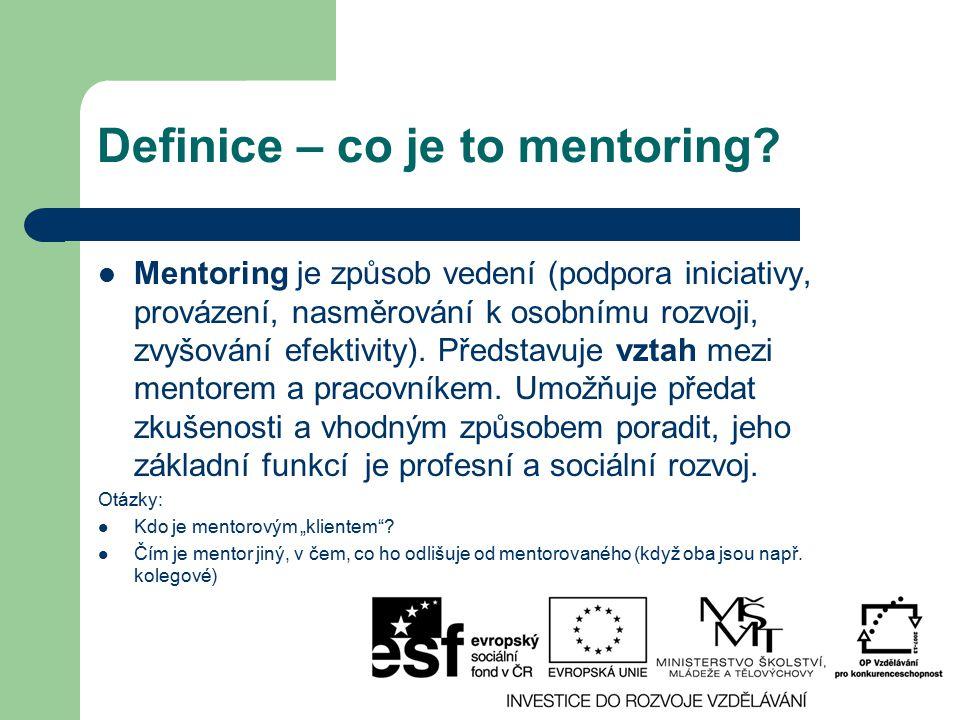 Definice – co je to mentoring? Mentoring je způsob vedení (podpora iniciativy, provázení, nasměrování k osobnímu rozvoji, zvyšování efektivity). Předs