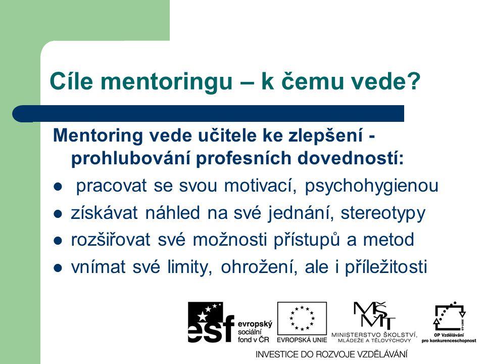 Cíle mentoringu – k čemu vede? Mentoring vede učitele ke zlepšení - prohlubování profesních dovedností: pracovat se svou motivací, psychohygienou získ