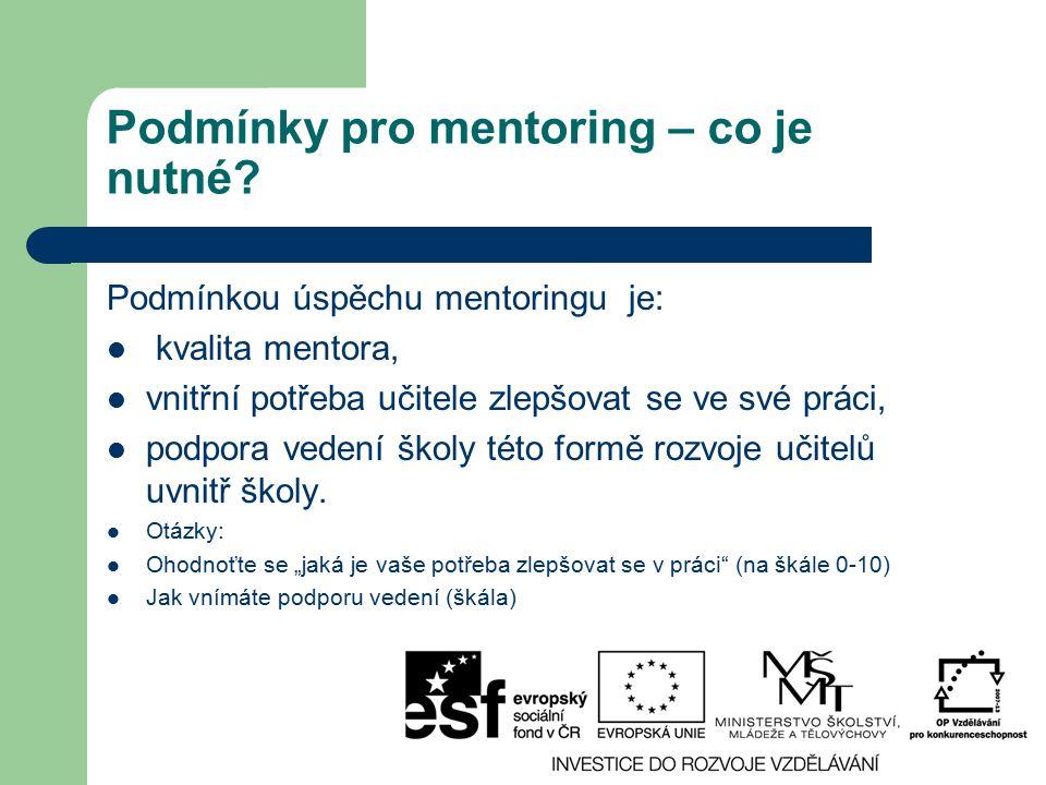 Podmínky pro mentoring – co je nutné? Podmínkou úspěchu mentoringu je: kvalita mentora, vnitřní potřeba učitele zlepšovat se ve své práci, podpora ved