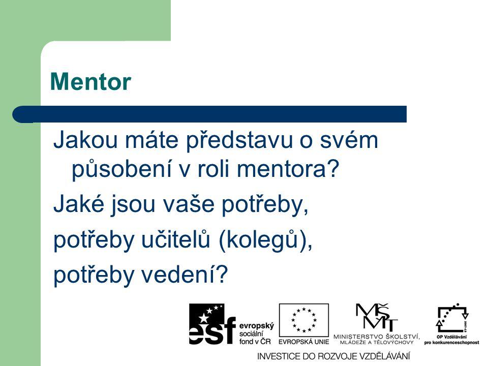 Mentor Jakou máte představu o svém působení v roli mentora? Jaké jsou vaše potřeby, potřeby učitelů (kolegů), potřeby vedení?