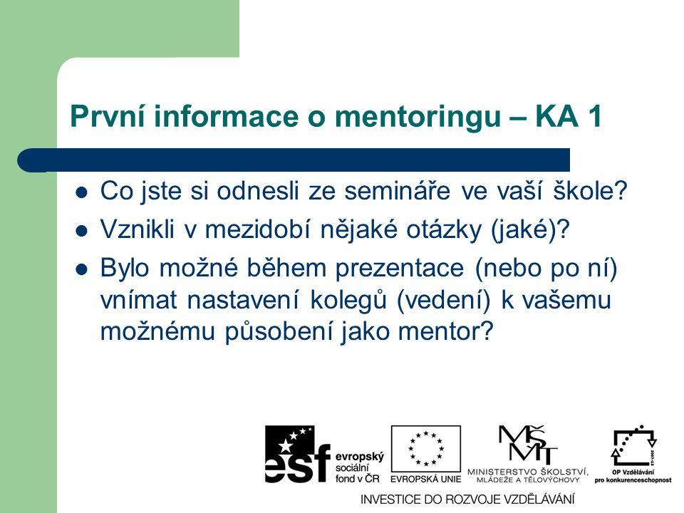 První informace o mentoringu – KA 1 Co jste si odnesli ze semináře ve vaší škole? Vznikli v mezidobí nějaké otázky (jaké)? Bylo možné během prezentace