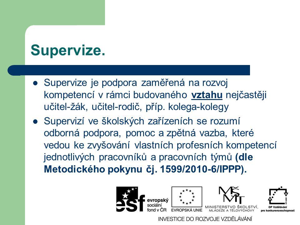Supervize. Supervize je podpora zaměřená na rozvoj kompetencí v rámci budovaného vztahu nejčastěji učitel-žák, učitel-rodič, příp. kolega-kolegy Super