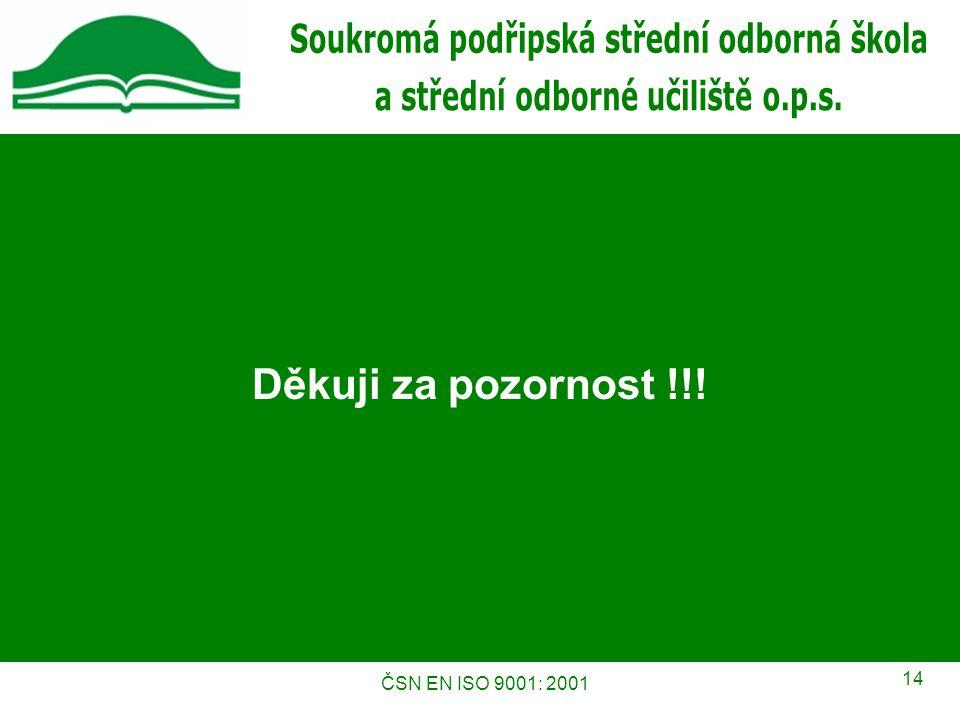 ČSN EN ISO 9001: 2001 14 Děkuji za pozornost !!!