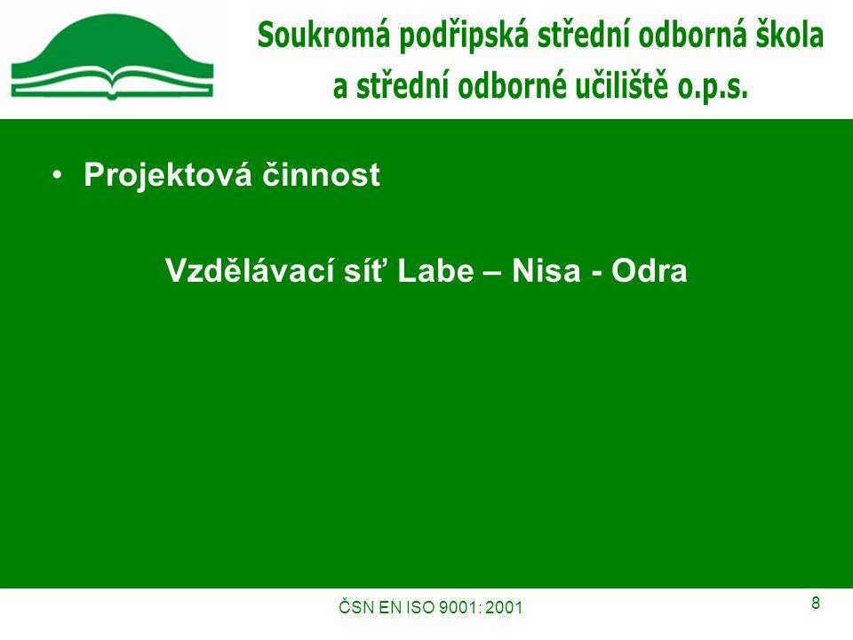ČSN EN ISO 9001: 2001 8 Projektová činnost Vzdělávací síť Labe – Nisa - Odra