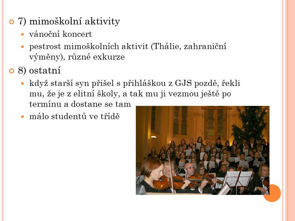 7) mimoškolní aktivity vánoční koncert pestrost mimoškolních aktivit (Thálie, zahraniční výměny), různé exkurze 8) ostatní když starší syn přišel s př