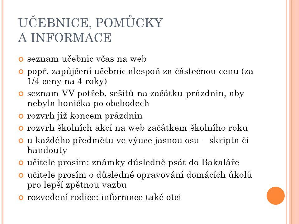 UČEBNICE, POMŮCKY A INFORMACE seznam učebnic včas na web popř. zapůjčení učebnic alespoň za částečnou cenu (za 1/4 ceny na 4 roky) seznam VV potřeb, s