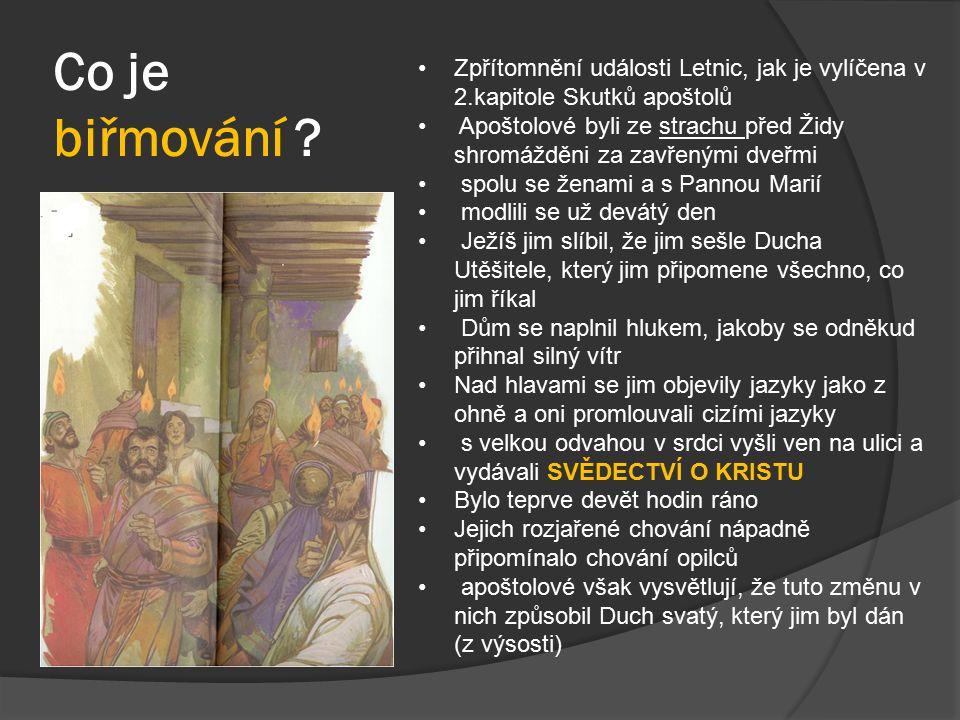 Co je biřmování ? Zpřítomnění události Letnic, jak je vylíčena v 2.kapitole Skutků apoštolů Apoštolové byli ze strachu před Židy shromážděni za zavřen