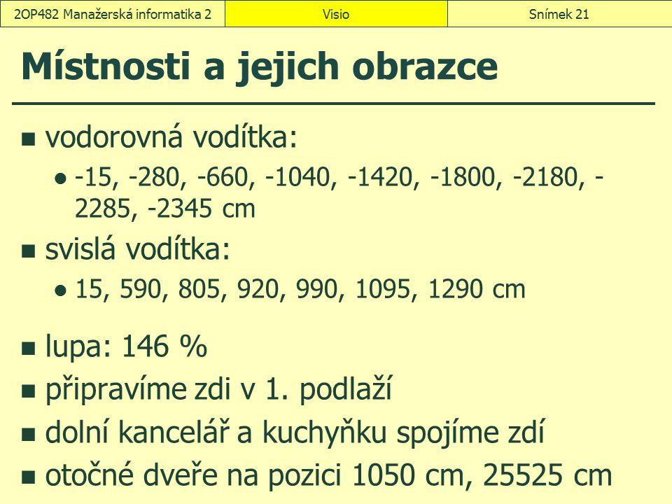 Místnosti a jejich obrazce vodorovná vodítka: -15, -280, -660, -1040, -1420, -1800, -2180, - 2285, -2345 cm svislá vodítka: 15, 590, 805, 920, 990, 10