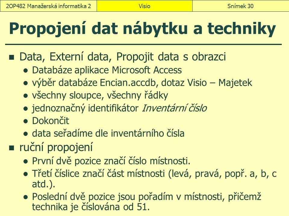 VisioSnímek 302OP482 Manažerská informatika 2 Propojení dat nábytku a techniky Data, Externí data, Propojit data s obrazci Databáze aplikace Microsoft