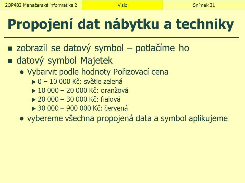 Propojení dat nábytku a techniky zobrazil se datový symbol – potlačíme ho datový symbol Majetek Vybarvit podle hodnoty Pořizovací cena  0 – 10 000 Kč