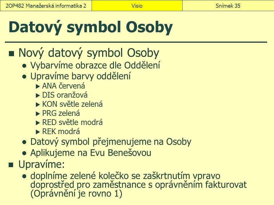 Datový symbol Osoby Nový datový symbol Osoby Vybarvíme obrazce dle Oddělení Upravíme barvy oddělení  ANA červená  DIS oranžová  KON světle zelená 