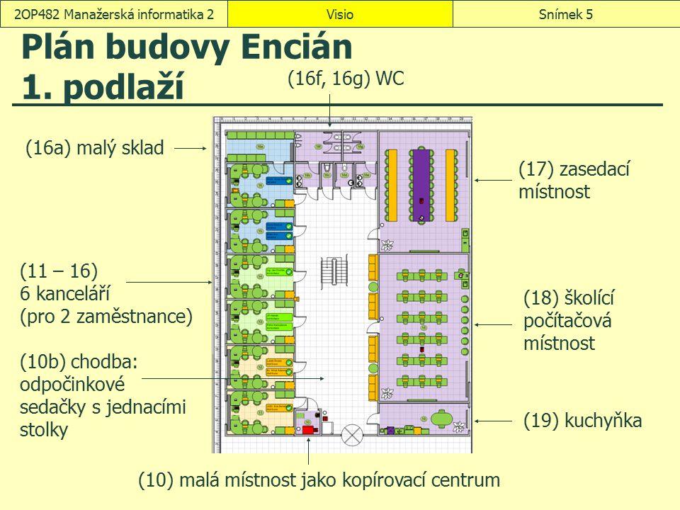 VisioSnímek 262OP482 Manažerská informatika 2 Barvy a čísla místností Data, Zobrazit data, Datové symboly Vytvořit nový datový symbol  Nová položka: Oddělení: Barva podle hodnoty  ANA: červená  DIS: oranžová  ENC: nachová  KON: světle zelená  PRG: zelená  RED: světle modrá  REK: modrá  přejmenování datového symbolu: Oddělení Domů, Úpravy, Vybrat, Vybrat podle typu: vrstvu Prostor Data, Zobrazit data, Datové symboly – aplikujeme symbol Oddělení Upravit datový symbol  Nová položka Text  Datové pole: Místnost  Zobrazeno jako: Text  Styl: Kruhový popisek  Délka hodnoty: 3  v dialogovém okně Upravit datový symbol  Vodorovně: Na střed  zaškrtnutí pole Skrýt text obrazce při použití datového symbolu