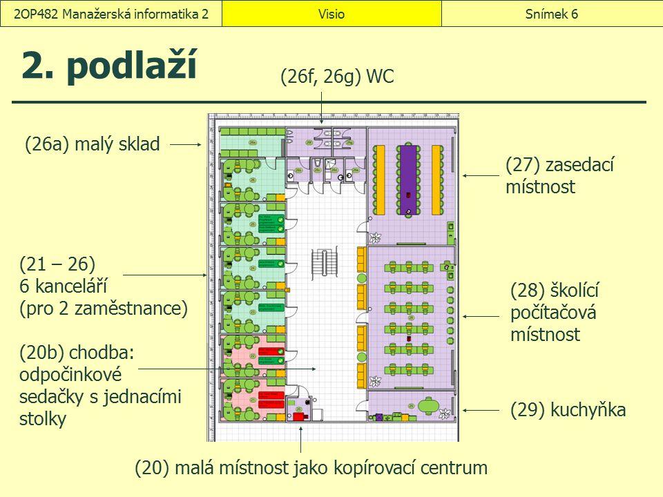 VisioSnímek 272OP482 Manažerská informatika 2 Vybavení místnosti: kancelář 11 okna přetažení ze vzorníku Enicán – Budova a místnosti zhruba na střed Domů, Uspořádat, Umístění, Zarovnat doprostřed šířka v zasedací místnosti 17 je 11,2 m šířka ve školící a počítačové místnosti 18 je 9,2 m dveře (obdobně jako okna) radiátory názvy obrazců (Okno 11, Dveře 11, Radiátor 11) Domů, Úpravy, Vrstvy, Vlastnosti vrstvy: zamkneme vrstvy Místnost a Prostor