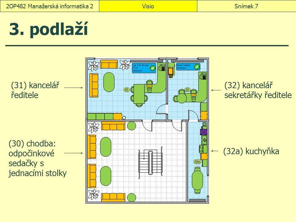 VisioSnímek 82OP482 Manažerská informatika 2 Nový výkres Mapy a plány prostorového uspořádání/Prostorový plán Průvodce spuštěním prostorového plánování žádný výchozí obrázek přidání čísel místnosti: ručně Dokončit V nabídce karta Plán Samostatné okno obsahující dva průzkumníky: prostoru a kategorie (Plán, Spravovat, Okno průzkumníka) Zobrazily se vzorníky Pracovní kóje, Kancelářské vybavení, Kancelářský nábytek, Zdroje