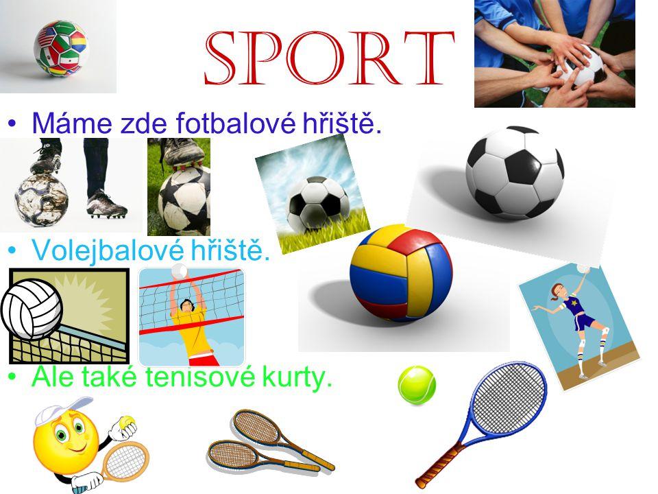 Sport Máme zde fotbalové hřiště. Volejbalové hřiště. Ale také tenisové kurty.