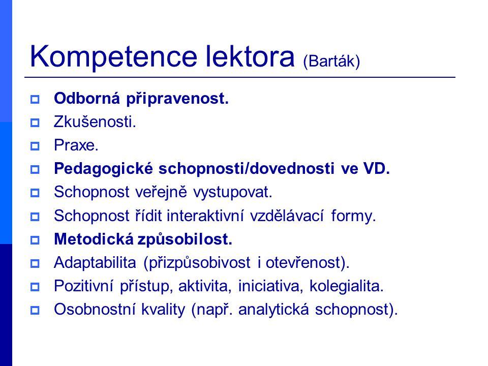 Kompetence lektora (Barták)  Odborná připravenost.  Zkušenosti.  Praxe.  Pedagogické schopnosti/dovednosti ve VD.  Schopnost veřejně vystupovat.