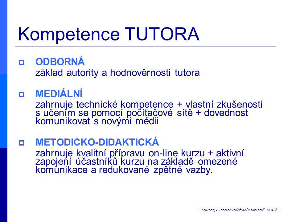 Kompetence TUTORA  ODBORNÁ základ autority a hodnověrnosti tutora  MEDIÁLNÍ zahrnuje technické kompetence + vlastní zkušenosti s učením se pomocí po