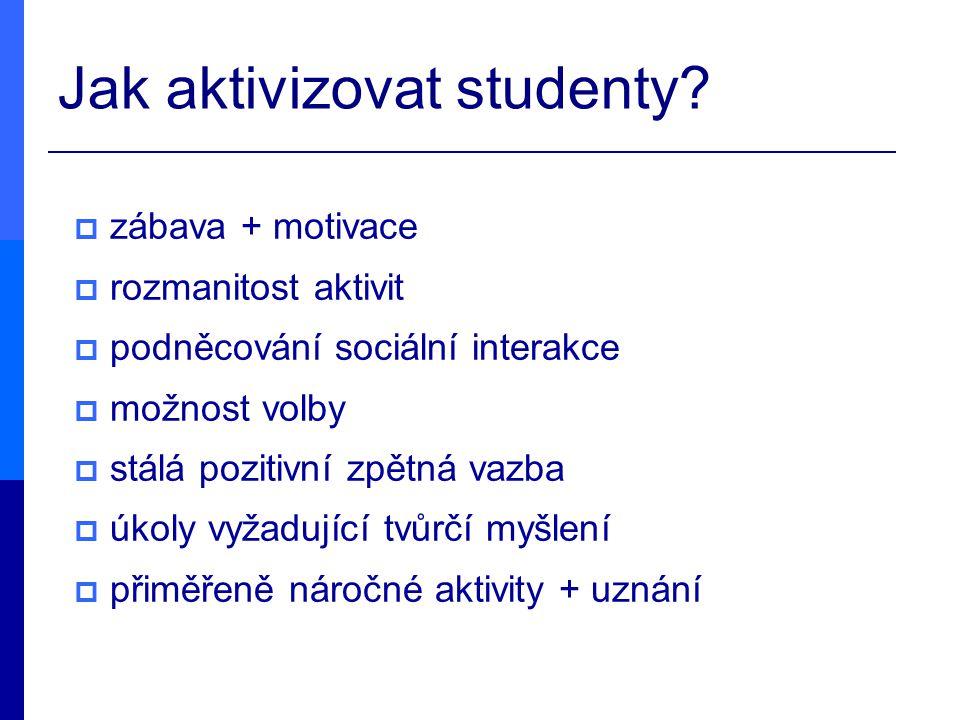 Jak aktivizovat studenty?  zábava + motivace  rozmanitost aktivit  podněcování sociální interakce  možnost volby  stálá pozitivní zpětná vazba 