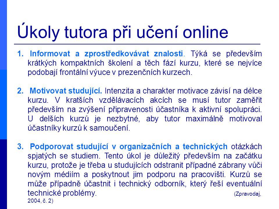 Úkoly tutora při učení online 1. Informovat a zprostředkovávat znalosti. Týká se především krátkých kompaktních školení a těch fází kurzu, které se ne