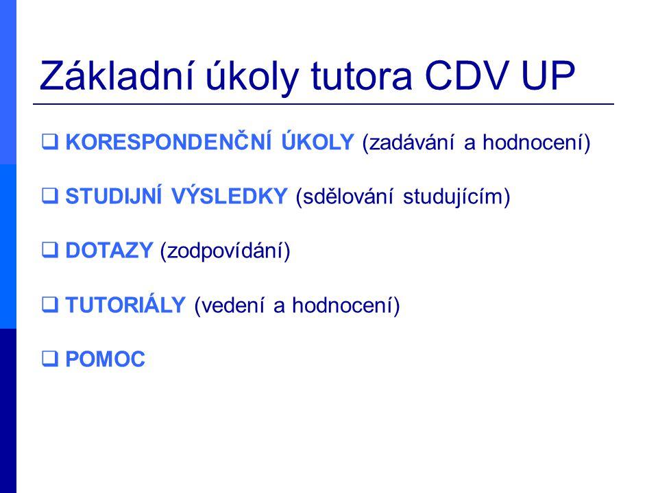 Základní úkoly tutora CDV UP  KORESPONDENČNÍ ÚKOLY (zadávání a hodnocení)  STUDIJNÍ VÝSLEDKY (sdělování studujícím)  DOTAZY (zodpovídání)  TUTORIÁ