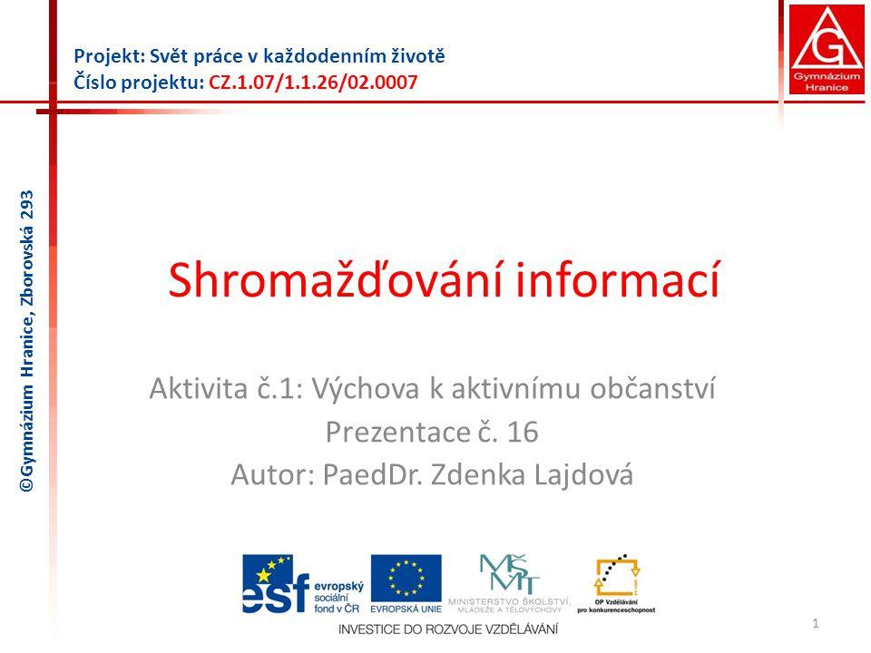 Shromažďování informací Aktivita č.1: Výchova k aktivnímu občanství Prezentace č.