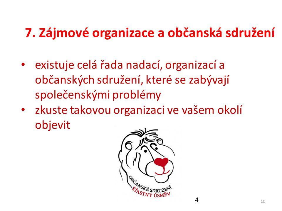 7. Zájmové organizace a občanská sdružení 10 existuje celá řada nadací, organizací a občanských sdružení, které se zabývají společenskými problémy zku
