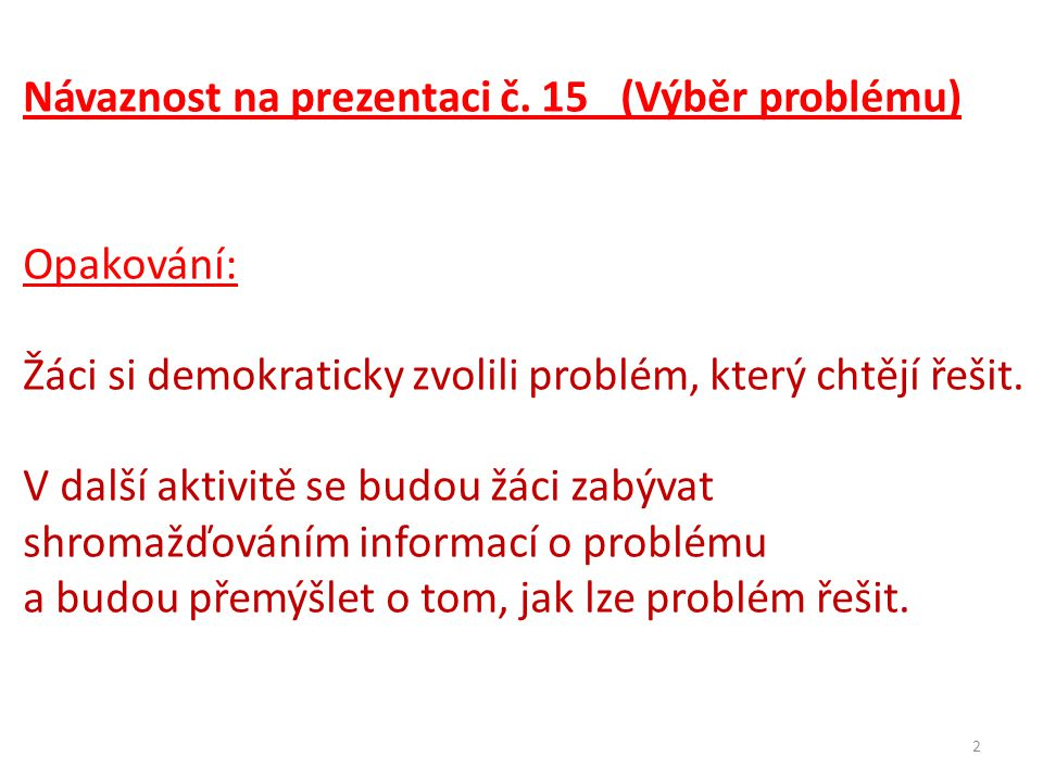 2 Návaznost na prezentaci č.