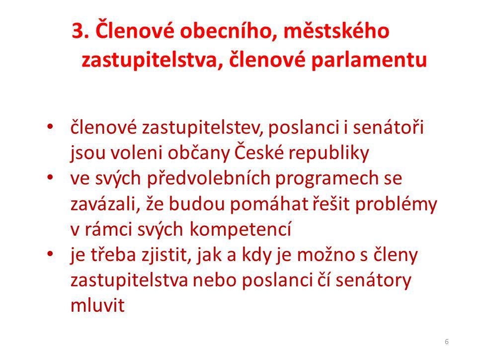 3. Členové obecního, městského zastupitelstva, členové parlamentu 6 členové zastupitelstev, poslanci i senátoři jsou voleni občany České republiky ve