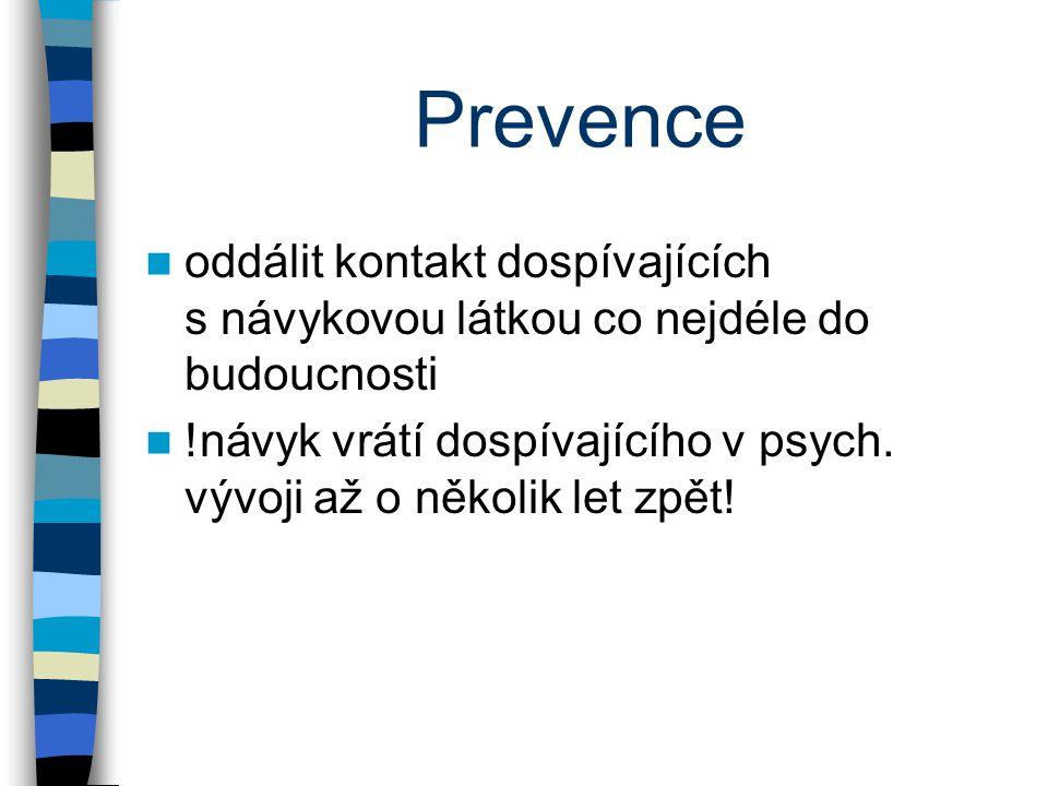 Prevence oddálit kontakt dospívajících s návykovou látkou co nejdéle do budoucnosti !návyk vrátí dospívajícího v psych. vývoji až o několik let zpět!
