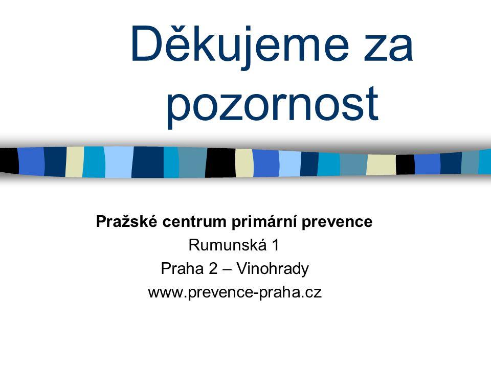 Děkujeme za pozornost Pražské centrum primární prevence Rumunská 1 Praha 2 – Vinohrady www.prevence-praha.cz