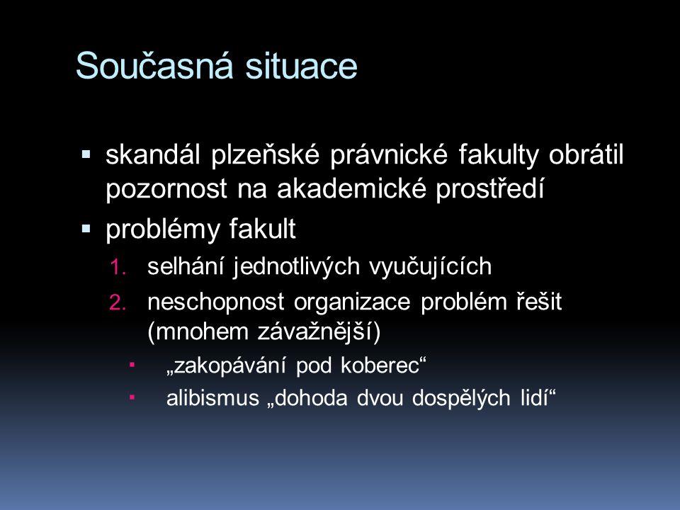 Současná situace  skandál plzeňské právnické fakulty obrátil pozornost na akademické prostředí  problémy fakult 1. selhání jednotlivých vyučujících