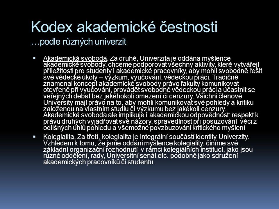 Kodex akademické čestnosti …podle různých univerzit  Akademická svoboda. Za druhé, Univerzita je oddána myšlence akademické svobody. chceme podporova