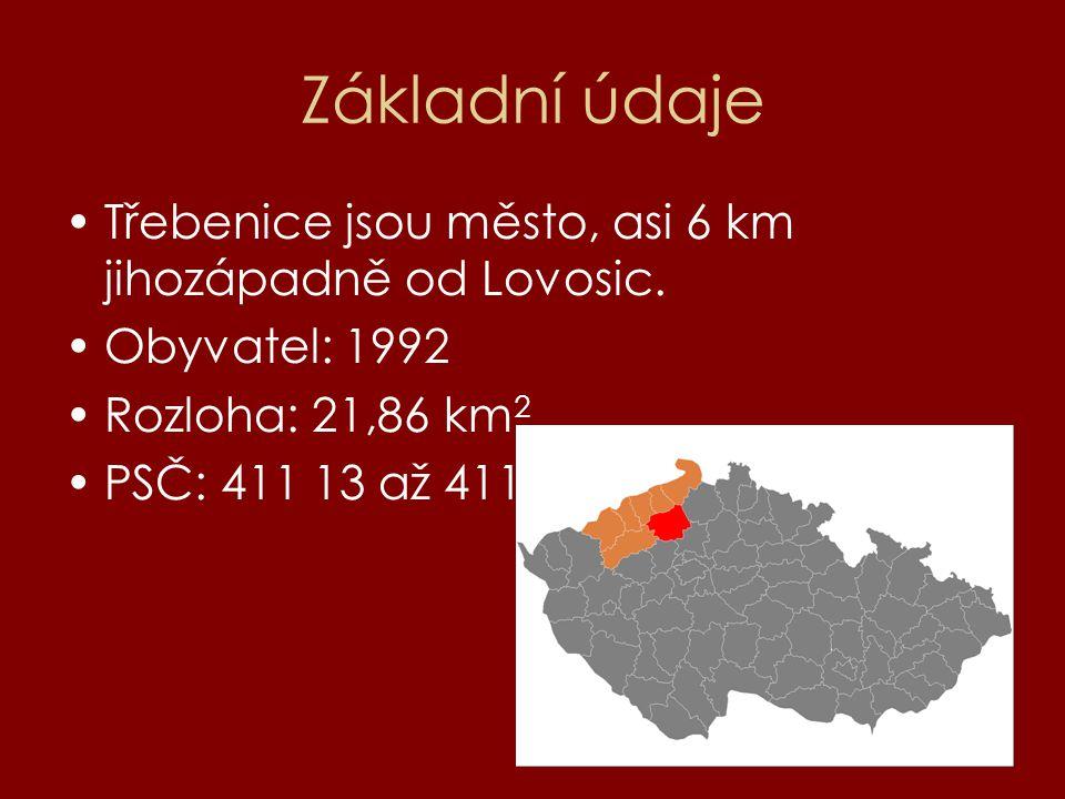 Základní údaje Třebenice jsou město, asi 6 km jihozápadně od Lovosic. Obyvatel: 1992 Rozloha: 21,86 km 2 PSČ: 411 13 až 411 15