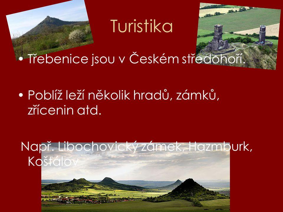Turistika Třebenice jsou v Českém středohoří. Poblíž leží několik hradů, zámků, zřícenin atd. Např. Libochovický zámek, Hazmburk, Košťálov