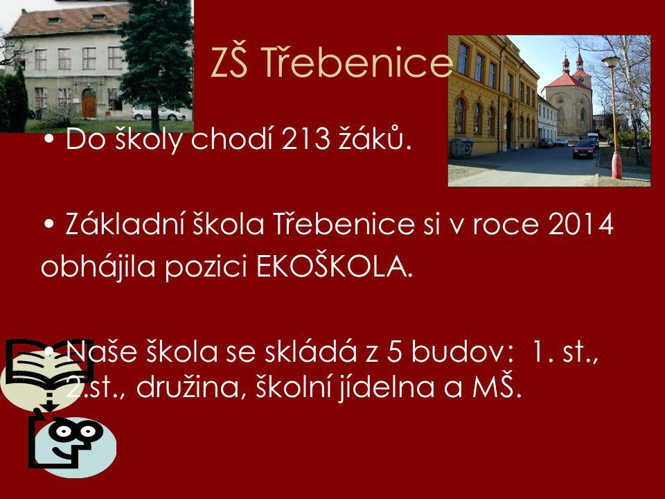 ZŠ Třebenice Do školy chodí 213 žáků. Základní škola Třebenice si v roce 2014 obhájila pozici EKOŠKOLA. Naše škola se skládá z 5 budov: 1. st., 2.st.,