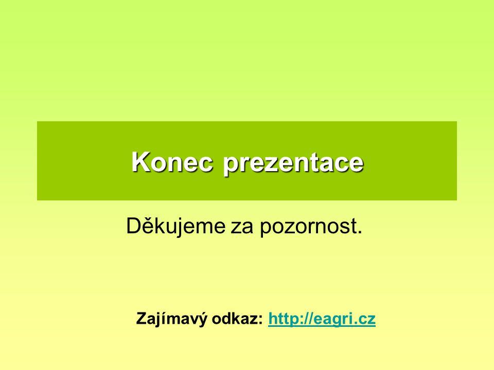Konec prezentace Děkujeme za pozornost. Zajímavý odkaz: http://eagri.czhttp://eagri.cz
