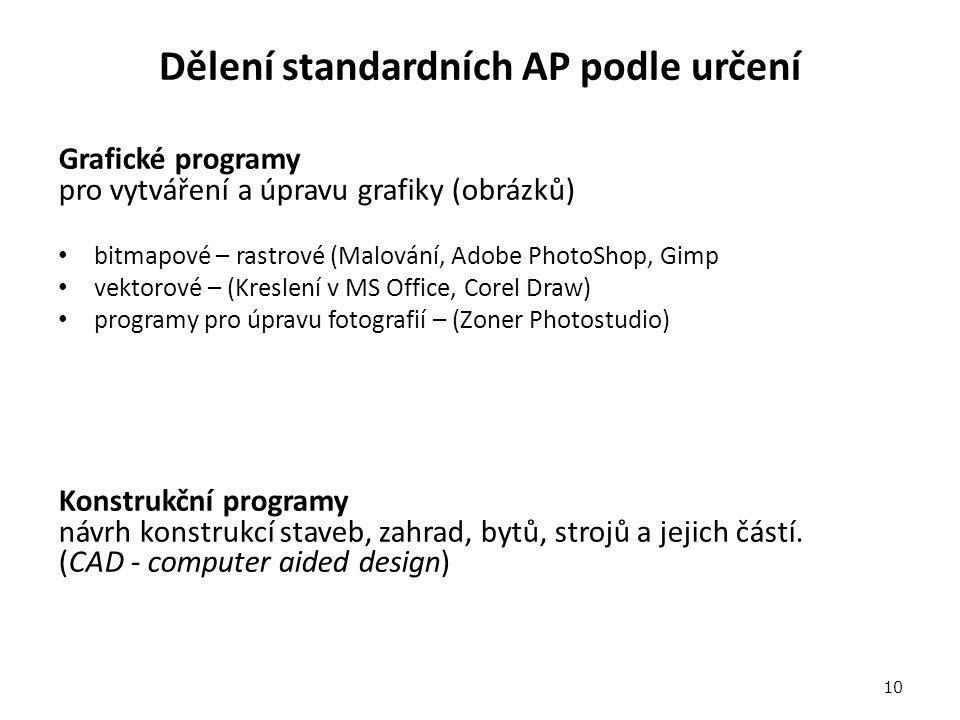 Dělení standardních AP podle určení Grafické programy pro vytváření a úpravu grafiky (obrázků) bitmapové – rastrové (Malování, Adobe PhotoShop, Gimp vektorové – (Kreslení v MS Office, Corel Draw) programy pro úpravu fotografií – (Zoner Photostudio) Konstrukční programy návrh konstrukcí staveb, zahrad, bytů, strojů a jejich částí.