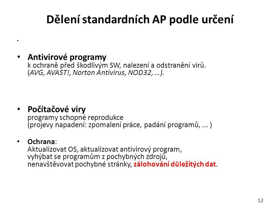 Dělení standardních AP podle určení Antivirové programy k ochraně před škodlivým SW, nalezení a odstranění virů.