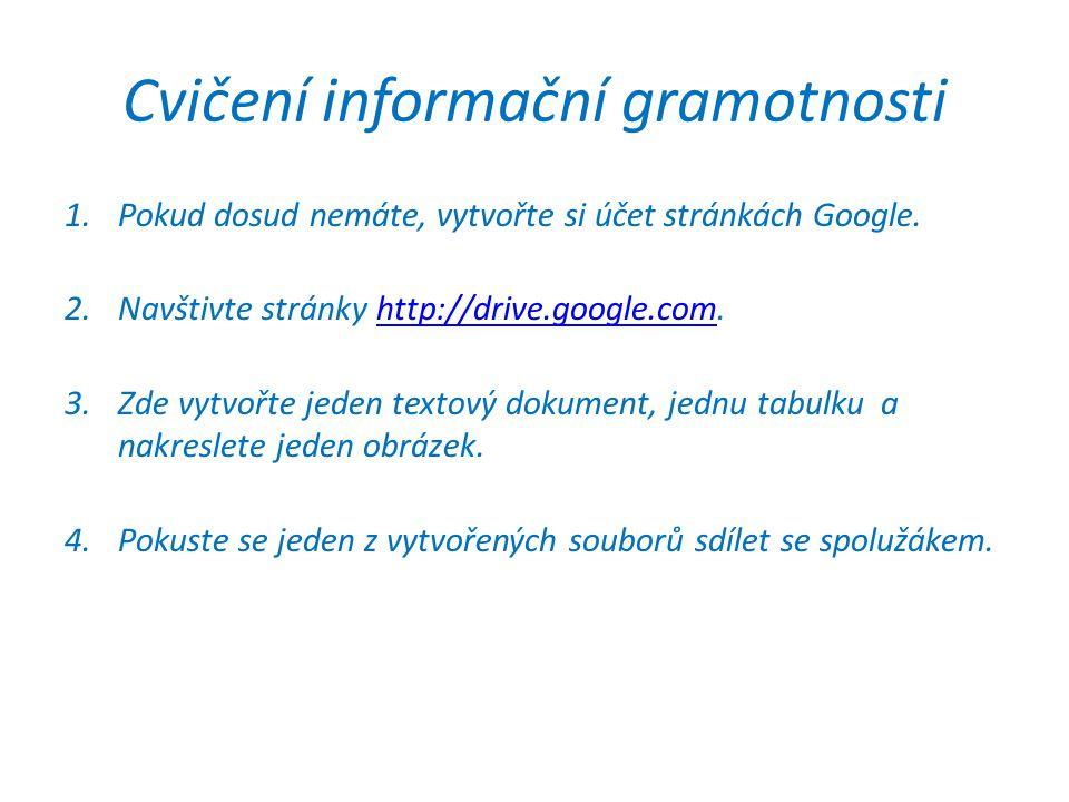 Cvičení informační gramotnosti 1.Pokud dosud nemáte, vytvořte si účet stránkách Google.