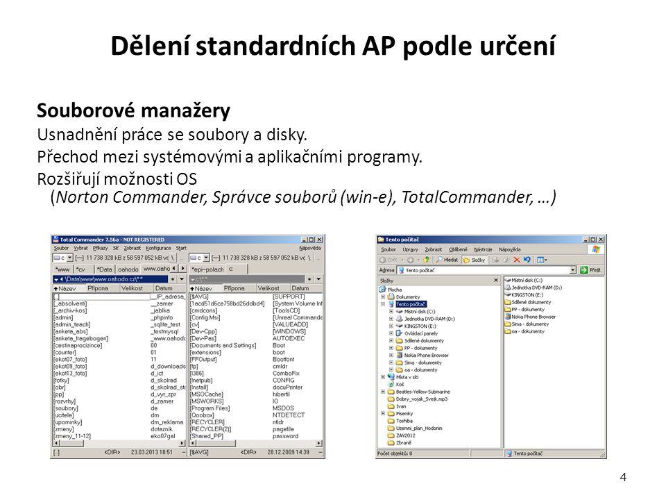 Dělení standardních AP podle určení Souborové manažery Usnadnění práce se soubory a disky.
