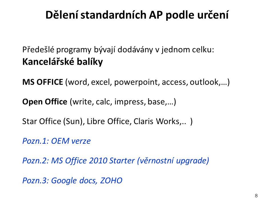 Dělení standardních AP podle určení Předešlé programy bývají dodávány v jednom celku: Kancelářské balíky MS OFFICE (word, excel, powerpoint, access, outlook,…) Open Office (write, calc, impress, base,…) Star Office (Sun), Libre Office, Claris Works,..