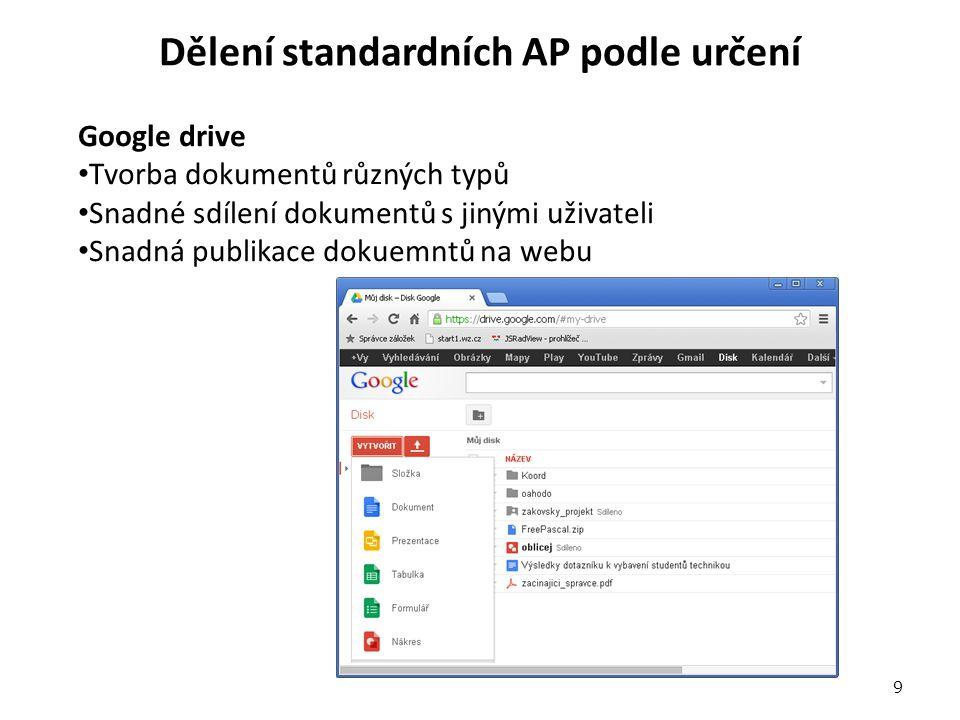 Dělení standardních AP podle určení Google drive Tvorba dokumentů různých typů Snadné sdílení dokumentů s jinými uživateli Snadná publikace dokuemntů na webu 9