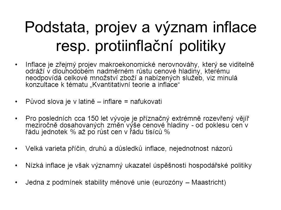 Podstata, projev a význam inflace resp.