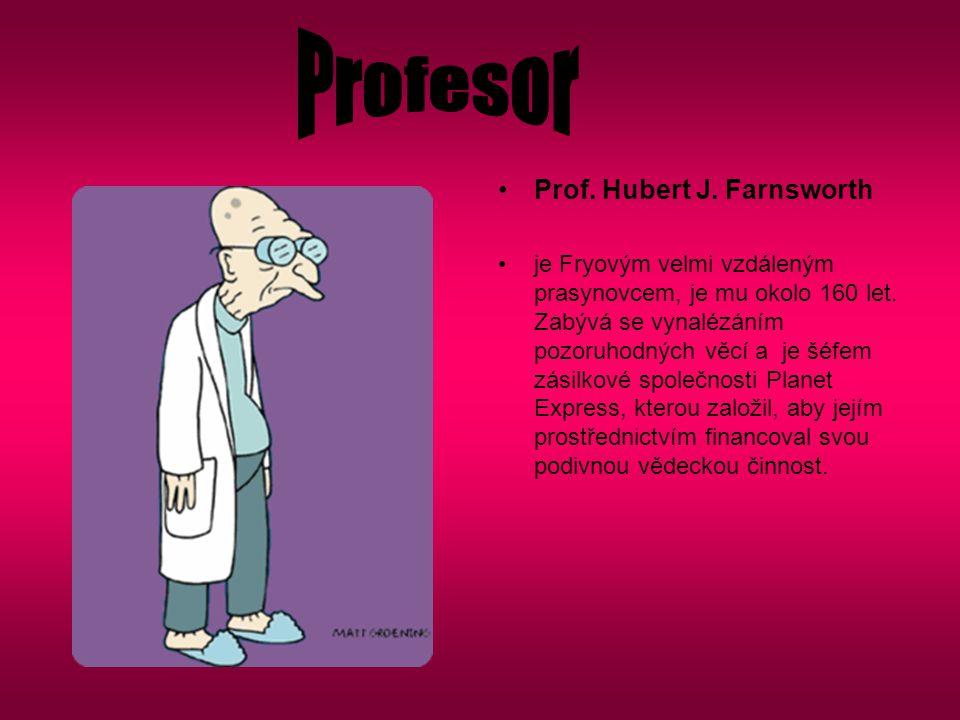 Prof. Hubert J. Farnsworth je Fryovým velmi vzdáleným prasynovcem, je mu okolo 160 let. Zabývá se vynalézáním pozoruhodných věcí a je šéfem zásilkové